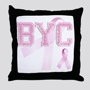 BYC initials, Pink Ribbon, Throw Pillow
