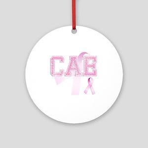CAE initials, Pink Ribbon, Round Ornament