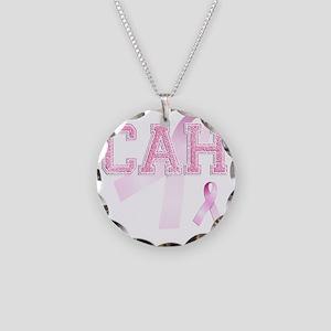 CAH initials, Pink Ribbon, Necklace Circle Charm