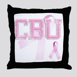 CBU initials, Pink Ribbon, Throw Pillow