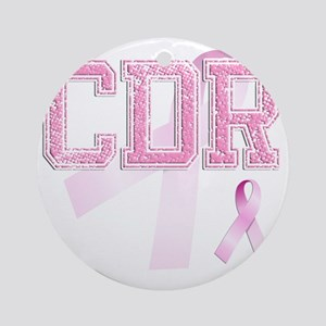 CDR initials, Pink Ribbon, Round Ornament