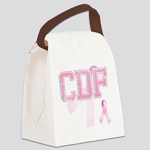CDF initials, Pink Ribbon, Canvas Lunch Bag