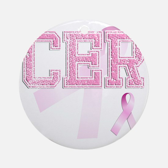 CER initials, Pink Ribbon, Round Ornament