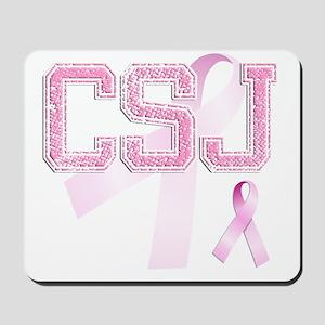 CSJ initials, Pink Ribbon, Mousepad