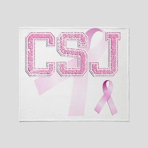 CSJ initials, Pink Ribbon, Throw Blanket