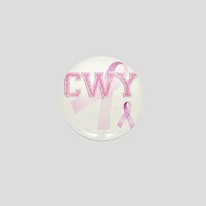 CWY initials, Pink Ribbon, Mini Button