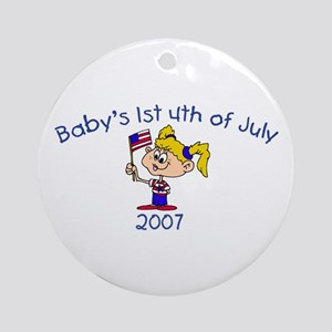 Baby's 1st 4th Of July (Girl) Ornament (Round)