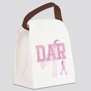 DAR initials, Pink Ribbon, Canvas Lunch Bag