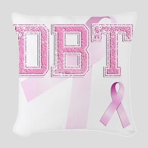 DBT initials, Pink Ribbon, Woven Throw Pillow
