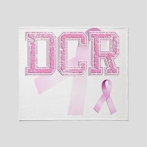 DCR initials, Pink Ribbon, Throw Blanket