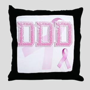 DDD initials, Pink Ribbon, Throw Pillow