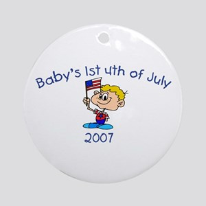 Baby's 1st 4th Of July (Boy) Ornament (Round)