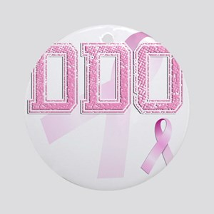 DDO initials, Pink Ribbon, Round Ornament