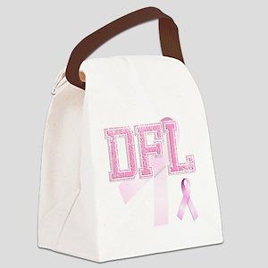 DFL initials, Pink Ribbon, Canvas Lunch Bag