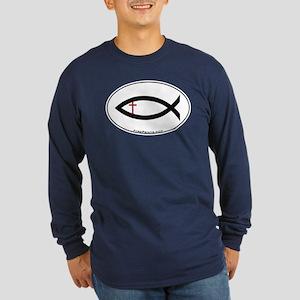 Small Cross Fish Long Sleeve Dark T-Shirt