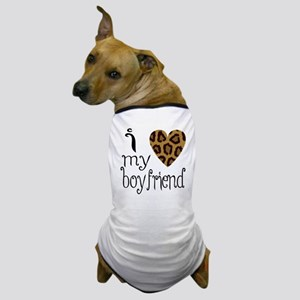 I Love My Boyfriend Leopard Print Dog T-Shirt