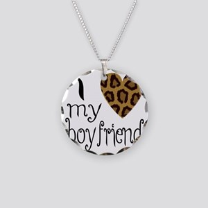 I Love My Boyfriend Leopard  Necklace Circle Charm