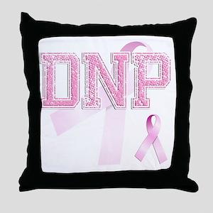 DNP initials, Pink Ribbon, Throw Pillow