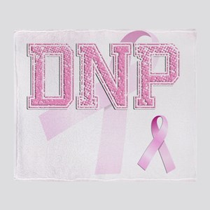 DNP initials, Pink Ribbon, Throw Blanket