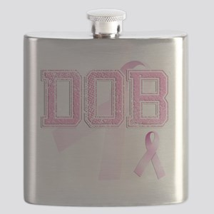 DOB initials, Pink Ribbon, Flask