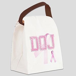 DOJ initials, Pink Ribbon, Canvas Lunch Bag