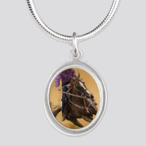 barrel racing pillow Silver Oval Necklace