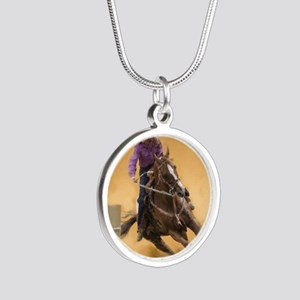 barrel racing pillow Silver Round Necklace