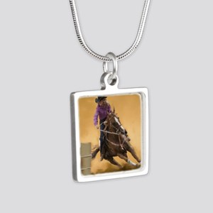 barrel racing pillow Silver Square Necklace