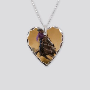 barrel racing pillow Necklace Heart Charm