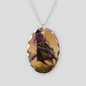 barrel racing pillow Necklace Oval Charm