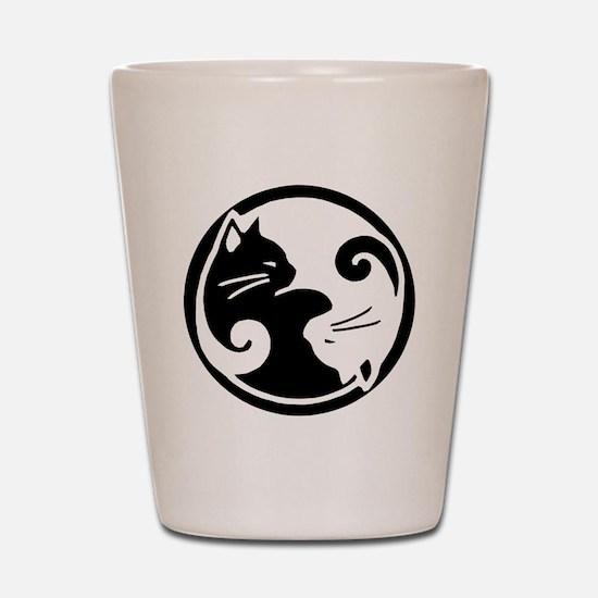 Yin Yang Cat Pet Tag Shot Glass