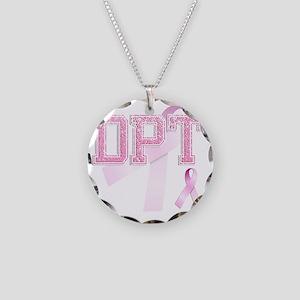 DPT initials, Pink Ribbon, Necklace Circle Charm