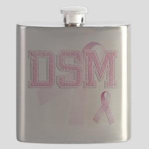 DSM initials, Pink Ribbon, Flask