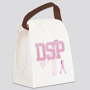 DSP initials, Pink Ribbon, Canvas Lunch Bag