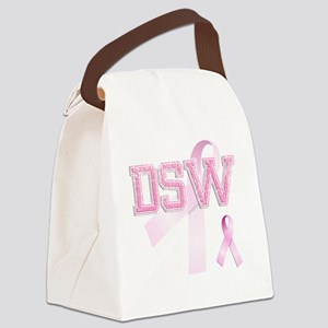 DSW initials, Pink Ribbon, Canvas Lunch Bag