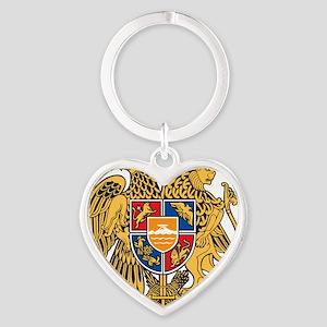 Armenia Coat of Arms Heart Keychain