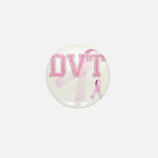 DVT initials, Pink Ribbon, Mini Button