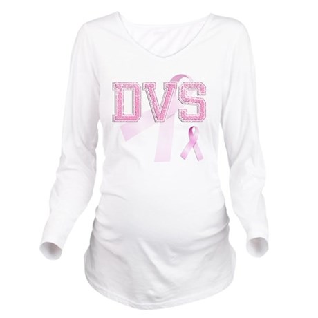 DVS initials, Pink R Long Sleeve Maternity T-Shirt