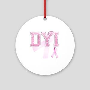DYI initials, Pink Ribbon, Round Ornament