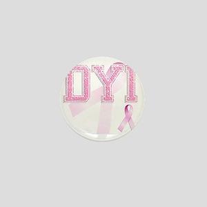 DYI initials, Pink Ribbon, Mini Button