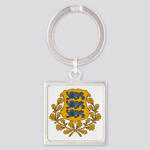 Estonia  Coat of Arms Square Keychain