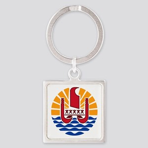 French Polynesia  Coat of Arms Square Keychain
