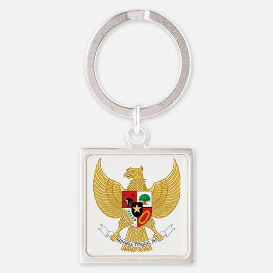 Indonesia  Coat of Arms Square Keychain