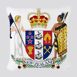 New Zealand  Coat of Arms Woven Throw Pillow