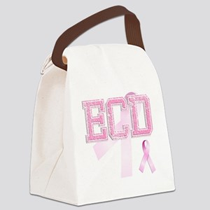 ECD initials, Pink Ribbon, Canvas Lunch Bag
