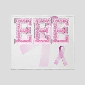 EEE initials, Pink Ribbon, Throw Blanket