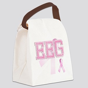 EEG initials, Pink Ribbon, Canvas Lunch Bag