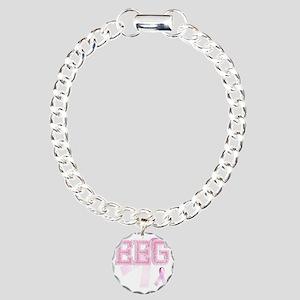 EEG initials, Pink Ribbo Charm Bracelet, One Charm
