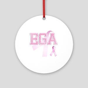 EGA initials, Pink Ribbon, Round Ornament