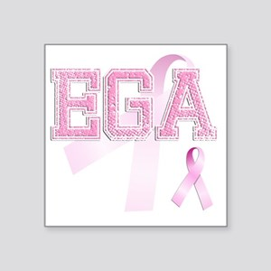 "EGA initials, Pink Ribbon, Square Sticker 3"" x 3"""